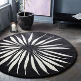 Round Petal Rug - Black + White