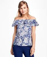 Brooks Brothers Paisley Off-the-Shoulder Blouse