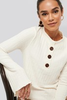 NA-KD Asymmetric Bell Sleeve Ribbed Sweater