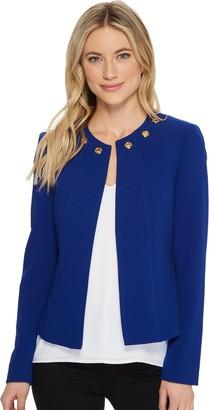 Tahari by Arthur S. Levine Women's Crepe Jacket with Grommet Detail Around Collar