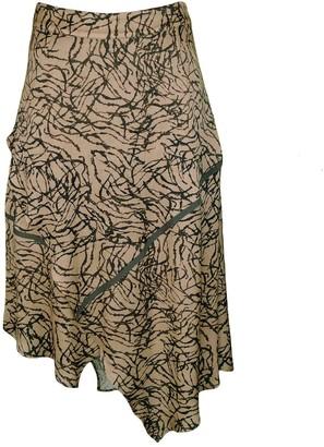 Lalipop Design Asymmetric Matt Gold Viscose Skirt With Khaki Stripes