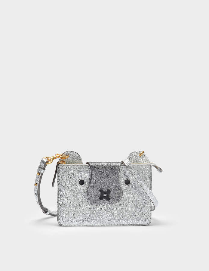Anya Hindmarch Husky Crossbody Pouch in Silver Crinkled Metallic Leather