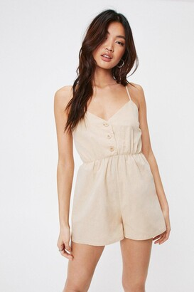 Nasty Gal Womens Close the Lead Button-Down Relaxed Romper - Stone