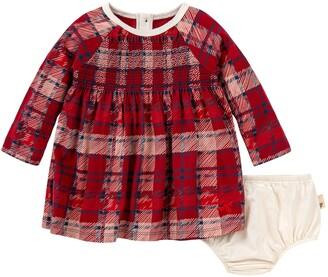 Burt's Bees Plaid Organic Baby Holiday Dress & Diaper Cover Set