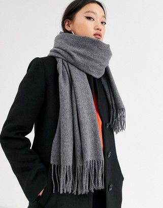 Asos Design DESIGN oversized wool scarf with tassels in gray