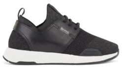 HUGO BOSS Leather-trimmed trainers with sparkling yarns