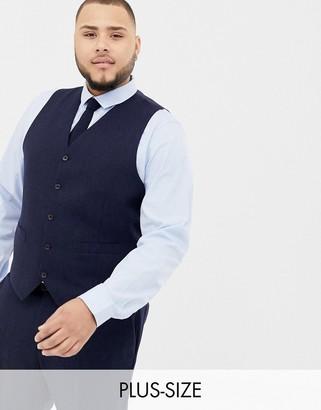 Gianni Feraud Plus slim fit large navy herringbone wool blend suit vest