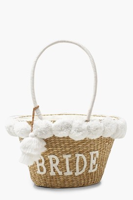boohoo Bride Straw & Pom Pom Large Beach Bag