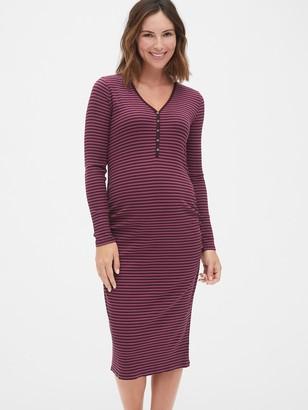 Gap Maternity Ribbed Long Sleeve Henley Midi T-Shirt Dress