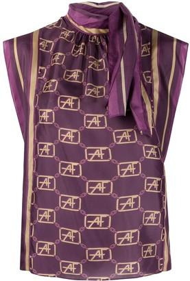 Alberta Ferretti Logo-Print Sleeveless Blouse