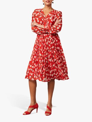 Phase Eight Lou-Poppy Ditsy Print Pleated Skirt Dress, Fire/Ivory
