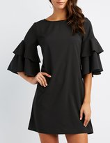 Charlotte Russe Ruffle-Tiered Bell Sleeve Shift Dress