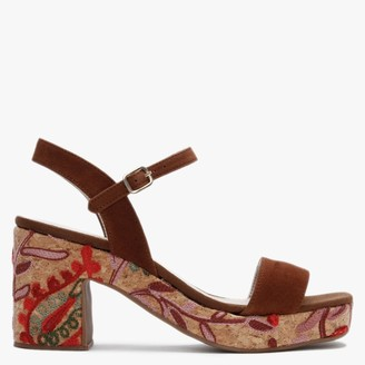 Carmen Saiz Tan Suede Embroidered Cork Sole Mid Heel Sandals