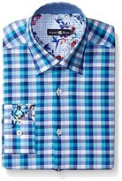 Stone Rose Men's Dobby Check Long Sleeve Button Down Shirt