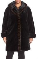 Gallery Plus Size Women's Hooded Faux Fur Walking Coat