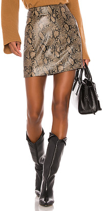 Frame Embossed Leather Skirt