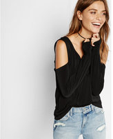 Express v-neck cold shoulder long sleeve tee