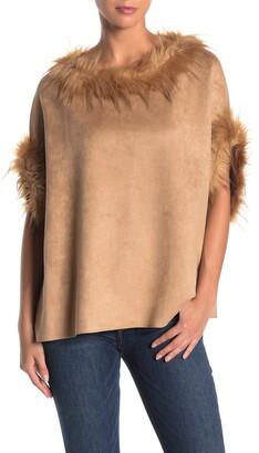 Love Token Faux Fur Trimmed Poncho