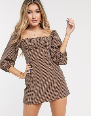 Capulet cambria ruched check mini dress