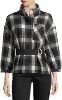 Derek Lam 10 Crosby Belted Drop-Shoulder Plaid Wool-Blend Jacket