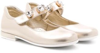 MonnaLisa Round Toe Stone-Embellished Ballerinas