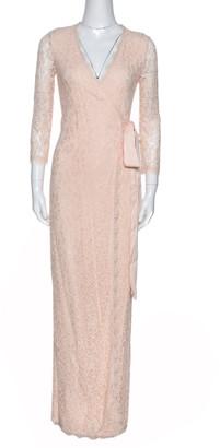 Diane von Furstenberg Cream Floral Lace Julianna Wrap Maxi Dress XS