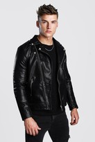 boohoo Mens Black Faux Leather Biker With Quilted Detail, Black