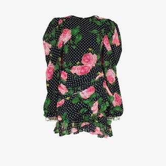 Richard Quinn Floral Polka Dot Silk Mini Dress