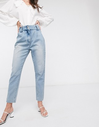 In The Style exclusive balloon pleat detail jeans in acid blue wash