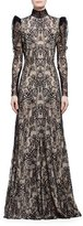 Alexander McQueen Long-Sleeve Open-Back Lace Gown, Black/Flesh