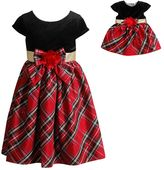 Dollie & Me Girls 4-14 Plaid & Velvet Bow Dress