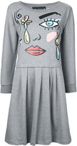 Moschino cartoon face print dress - women - Cotton - 40