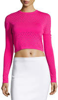 Thierry Mugler Perforated Knit Cropped Sweater, Cheeky Pink