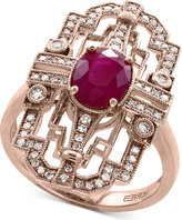 Effy Amoré Certified Ruby (1-3/8 ct. t.w.) and Diamond (1/4 ct. t.w.) Statement Ring in 14k Rose Gold
