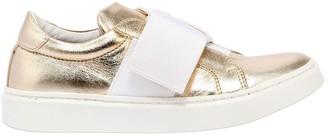 Metallic Leather Slip-on Sneakers