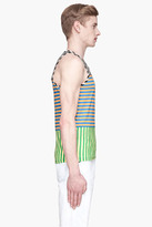 adidas BY O.C. Orange and green striped Piece Blocked Tank top