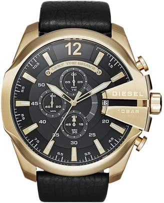 Diesel Mega Chief Black Dial And Gold Tone Stainless Steel Black Leather Strap Mens Watch