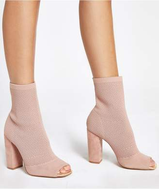 River Island Wide Fit Stretch Knit Sock Boot - Nude
