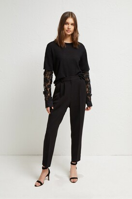 French Connection Ramona Knits Layered Lace Sleeve Jumper