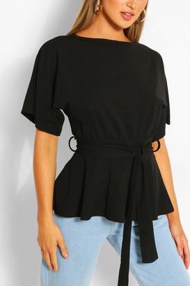 boohoo Crepe Short Sleeve Belted Top