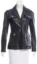 Oscar de la Renta Leather Utility Jacket