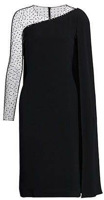 Jenny Packham Embellished Illusion Cape Sleeve Dress