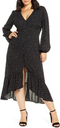Leith Print Button Front Long Sleeve Maxi Dress
