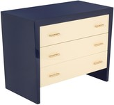The Well Appointed House Ardsley Navy and Peach Lacquer Chest with Gold Bamboo Pulls