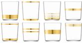LSA International Deco Glass Tumbler, Set of 8, 390ml, Clear/Gold
