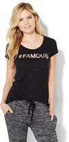 "New York & Co. Lounge - ""#Famous"" Sequin Logo Tee"
