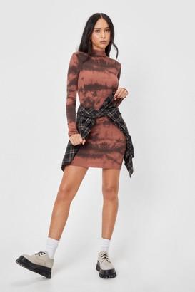 Nasty Gal Womens Tie Dye Long Sleeve Bodycon Mini Dress - Chocolate