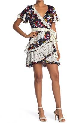 Tanya Taylor Bianka Mixed Print Wrap Dress