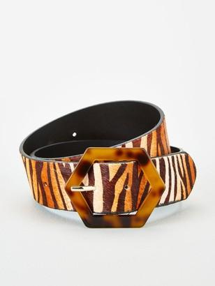 Very Tort Buckle Leather Zebra Print Belt - Zebra