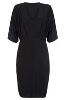 Quiz Curve Black Pleated V Neck Midi Dress
